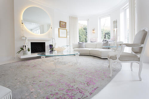 Bespoke rugs grey and pink rug