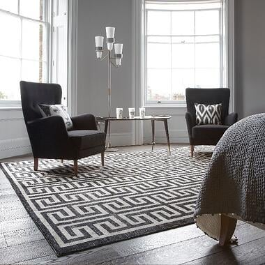 black and white geometric rug with greek key design-1