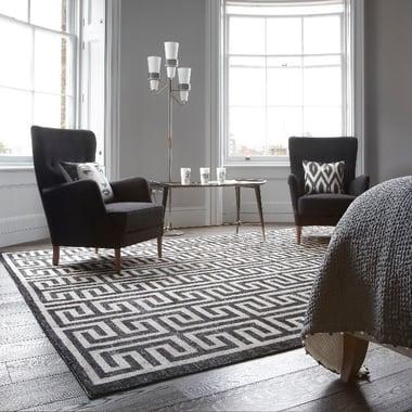 black and white geometric rug with greek key design-1