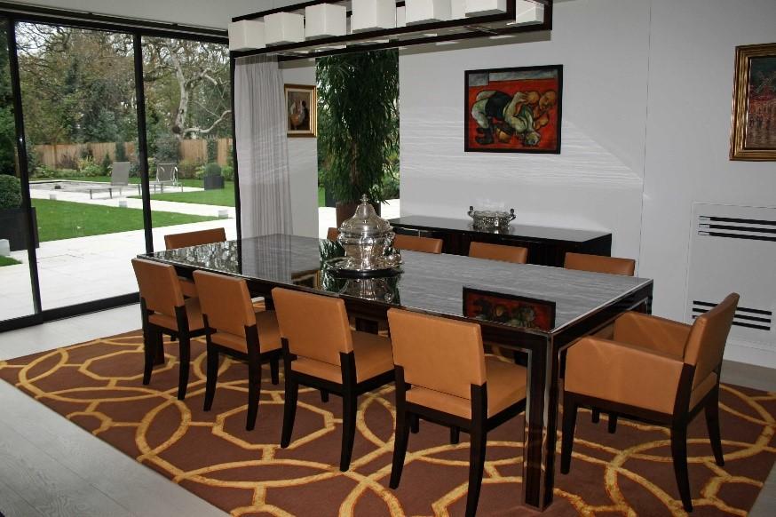 brown geometric rug in dining room