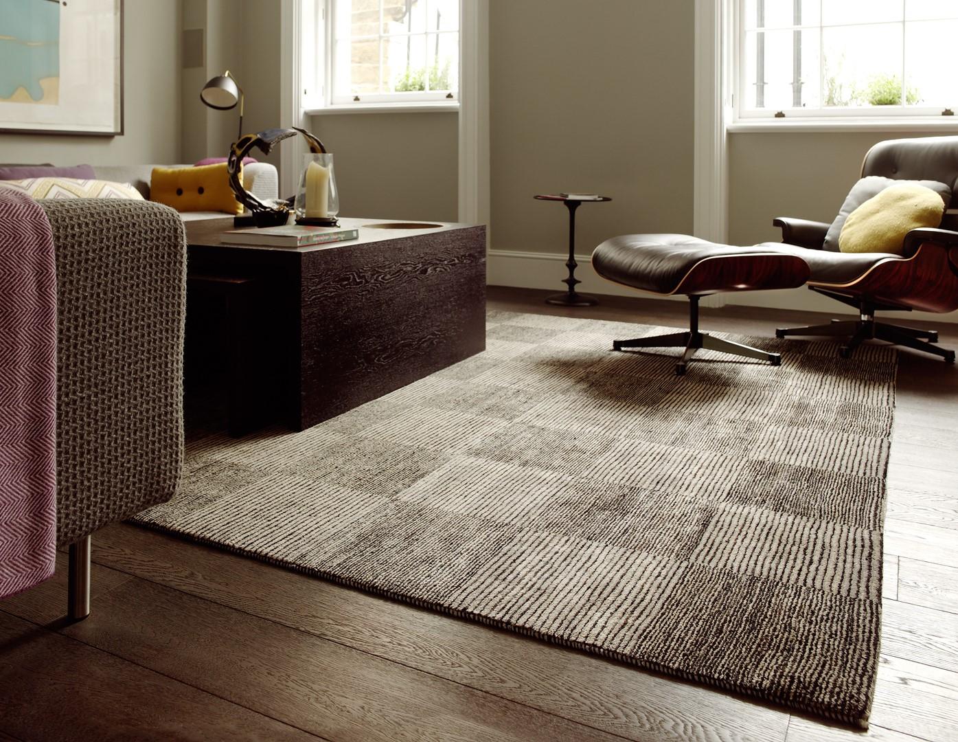 brown rug in living room