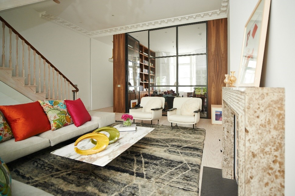 morrocan berber rug with with white sofas
