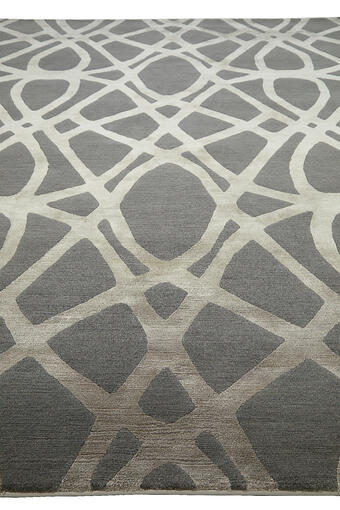 silver hand knotted rug