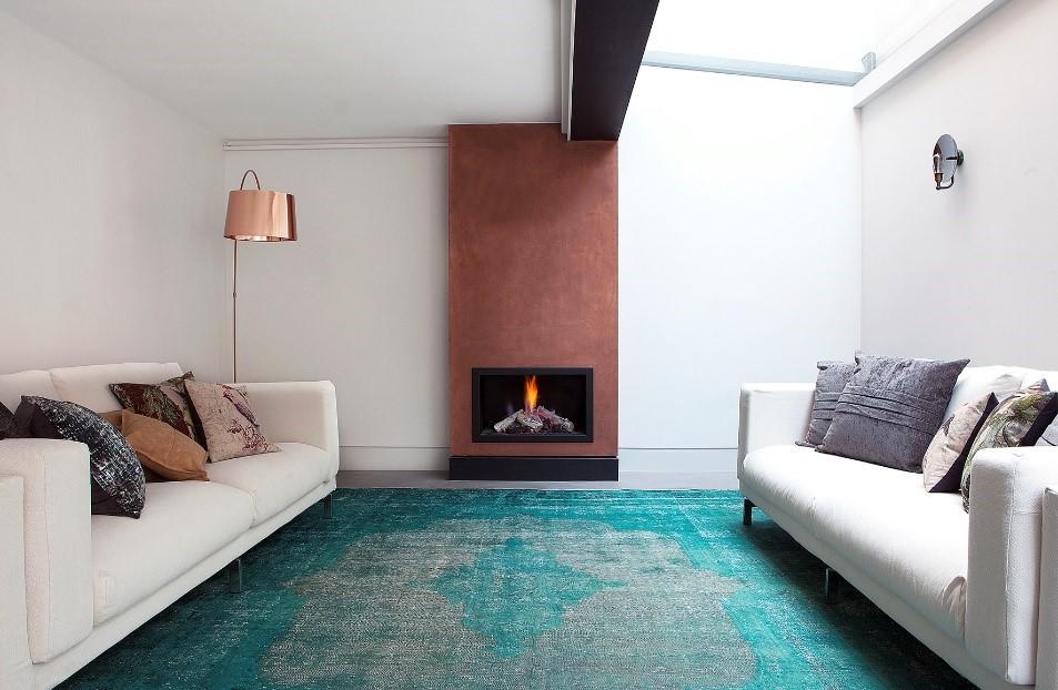 teal vintage over dyed rug