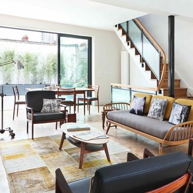 yellow patchwork rug in living room